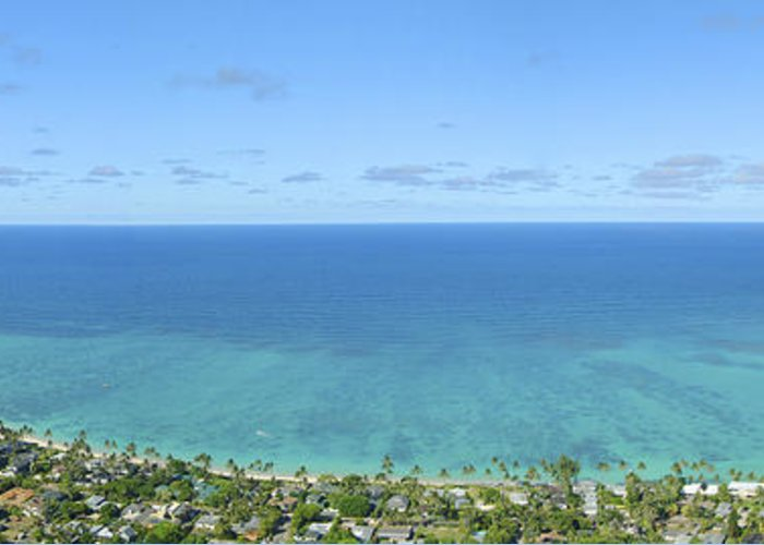 Blue Greeting Card featuring the photograph Windward Oahu Panorama II by David Cornwell/First Light Pictures, Inc - Printscapes