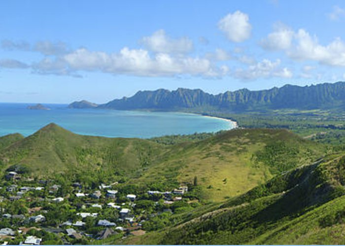 Blue Greeting Card featuring the photograph Windward Oahu Panorama IIi by David Cornwell/First Light Pictures, Inc - Printscapes