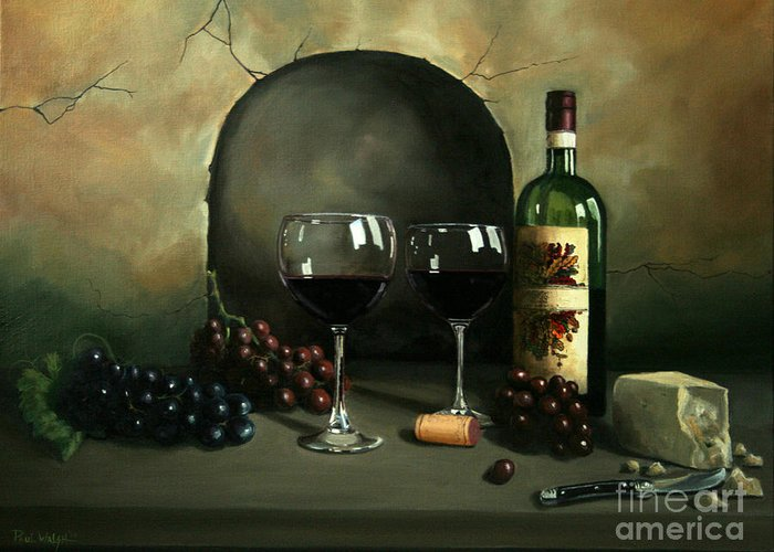 Wine Greeting Card featuring the painting Wine For Two by Paul Walsh