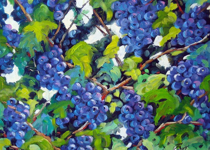 Fruits Greeting Card featuring the painting Wine On The Vine by Richard T Pranke