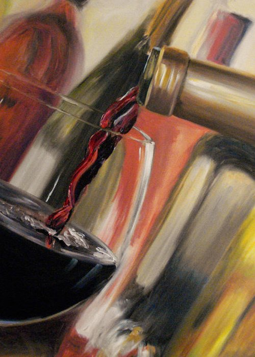 Wine Greeting Card featuring the painting Wine Pour II by Donna Tuten