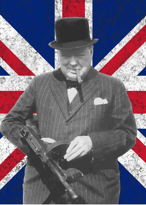 Winston Churchill Greeting Card featuring the painting Winston Churchill And His Flag by War Is Hell Store