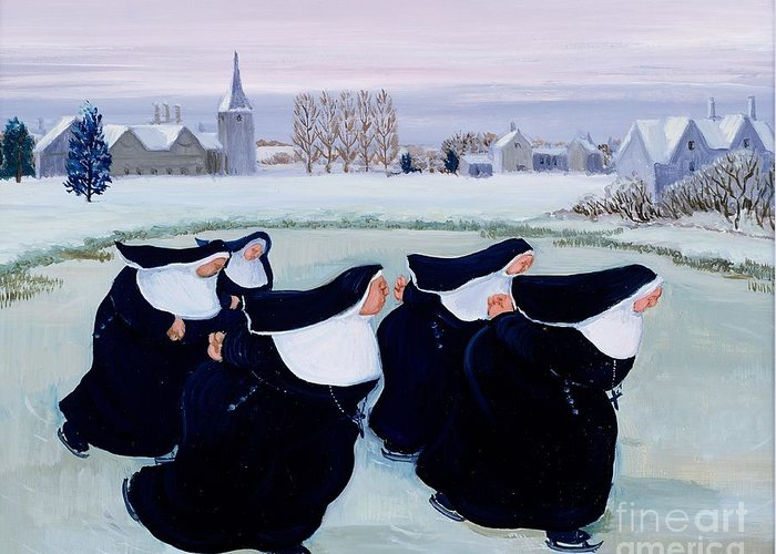 Habit Greeting Card featuring the painting Winter At The Convent by Margaret Loxton