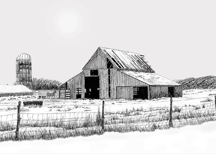 Barn Greeting Card featuring the drawing Winter Barn by Lyle Brown