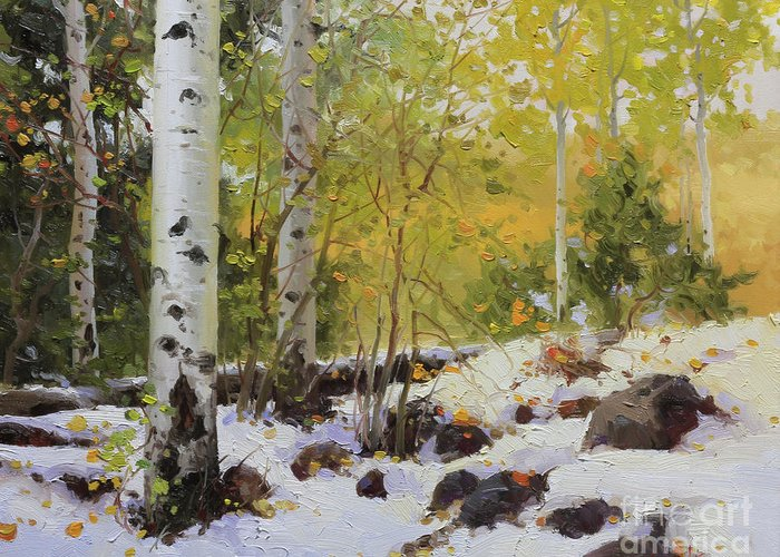 Aspen Greeting Card featuring the painting Winter Beauty Sangre De Mountain 2 by Gary Kim