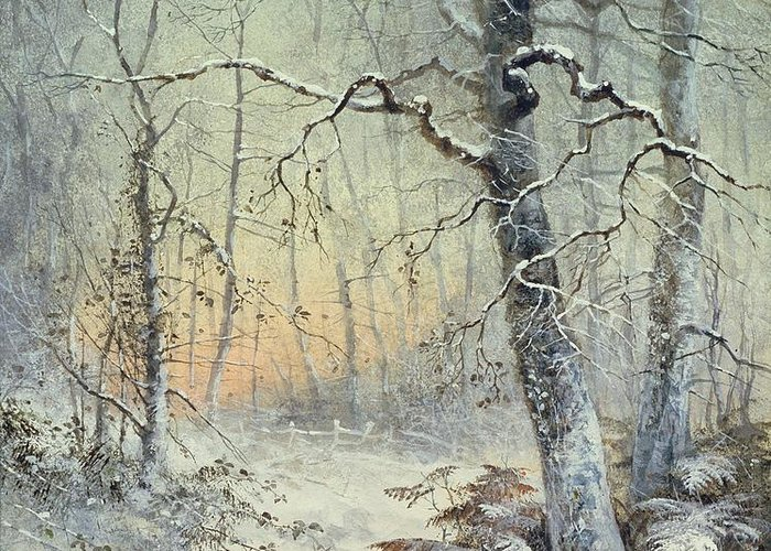 Winter Greeting Card featuring the painting Winter Breakfast by Joseph Farquharson