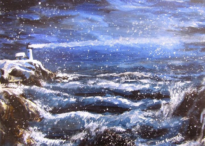 Ocean Greeting Card featuring the painting Winter Coastal Storm by Jack Skinner