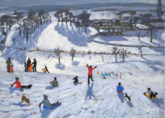 Winter Fun Greeting Card featuring the painting Winter Fun by Andrew Macara
