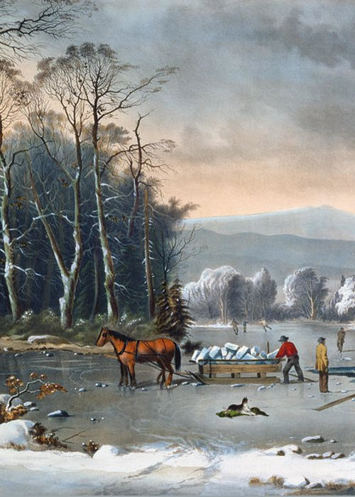 Winter In The Country Greeting Card featuring the painting Winter In The Country by Currier and Ives