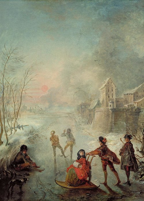 Winter Greeting Card featuring the painting Winter by Jacques de Lajoue