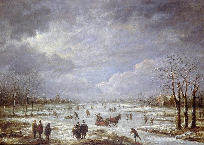 Winter Greeting Card featuring the painting Winter Landscape by Aert van der Neer