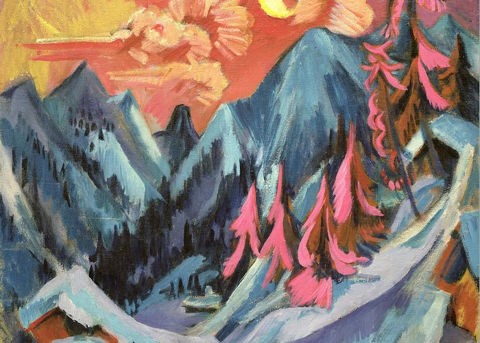 Winter Greeting Card featuring the painting Winter Landscape In Moonlight by Ernst Ludwig Kirchner