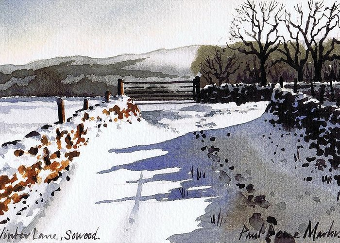 Snow Scene Greeting Card featuring the painting Winter Lane Sowood by Paul Dene Marlor