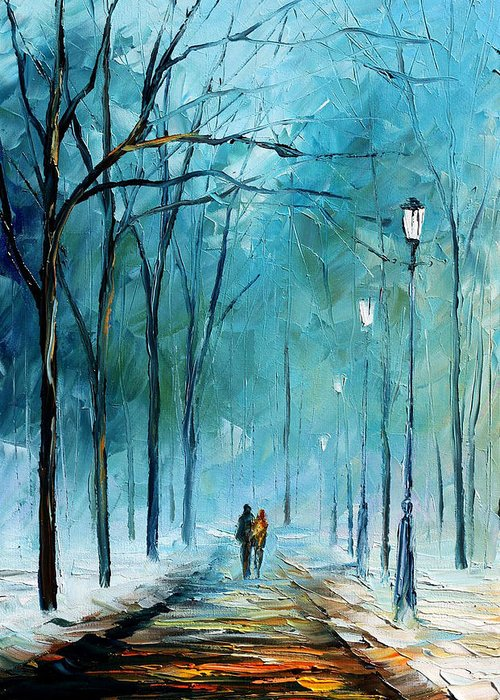 Landscape Greeting Card featuring the painting Winter by Leonid Afremov