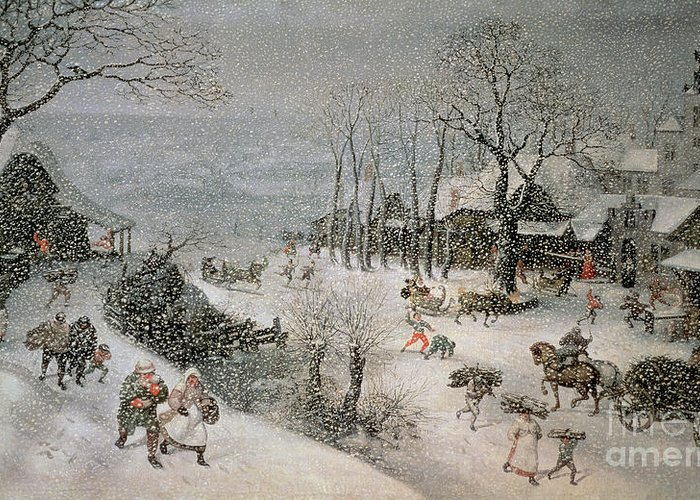 Snowy Greeting Card featuring the painting Winter by Lucas van Valckenborch