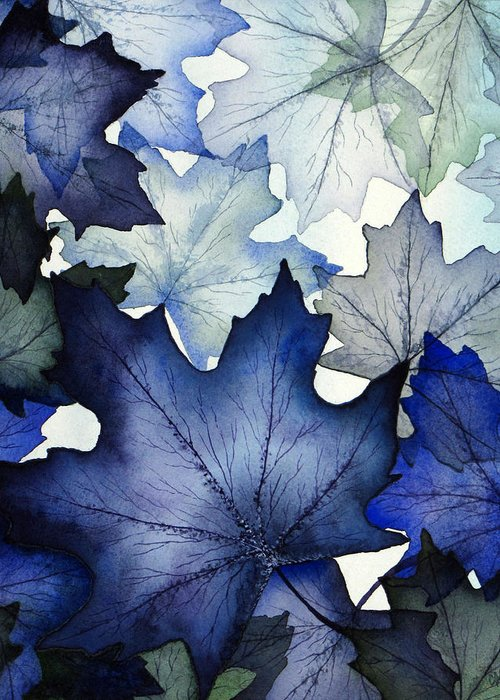 Winter Greeting Card featuring the painting Winter Maple Leaves by Christina Meeusen