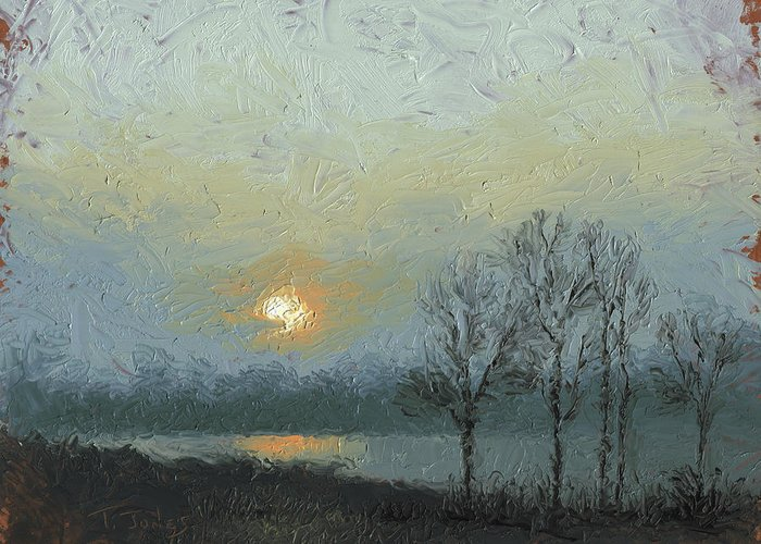 Arkansas Greeting Card featuring the painting Winter Mist by Timothy Jones