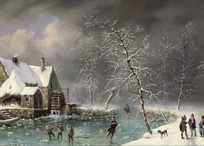 Winter Scene By Louis Claude Mallebranche (1790-1838) Greeting Card featuring the painting Winter Scene by Louis Claude Mallebranche