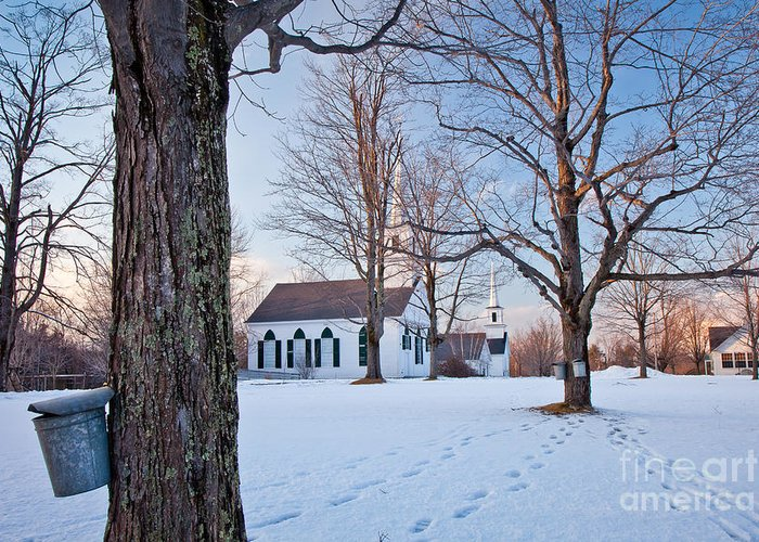 Antique Greeting Card featuring the photograph Winter Sunset In New Salem by Susan Cole Kelly