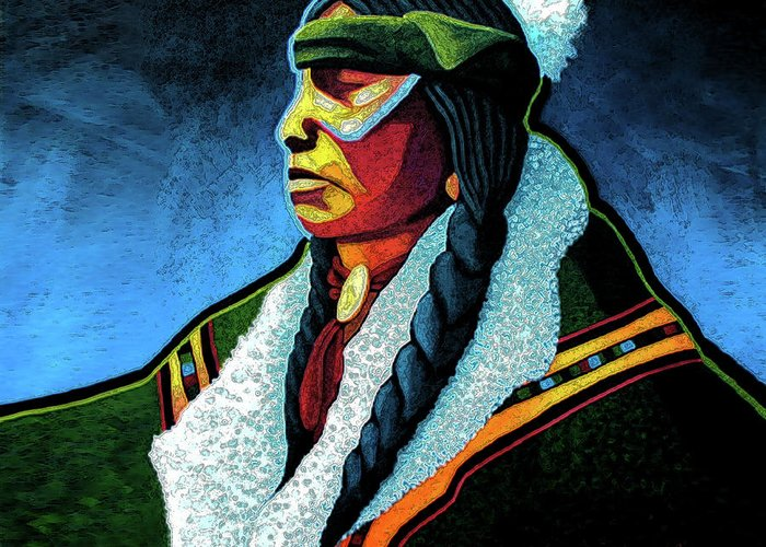 Contemporary Native American Art Greeting Card featuring the painting Winter Warrior by Lance Headlee