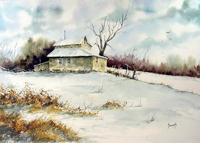 Snow Greeting Card featuring the painting Winter Washday by Sam Sidders