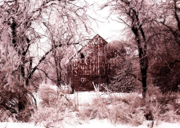 Barn Greeting Card featuring the photograph Winter Wonderland Pink by Julie Hamilton