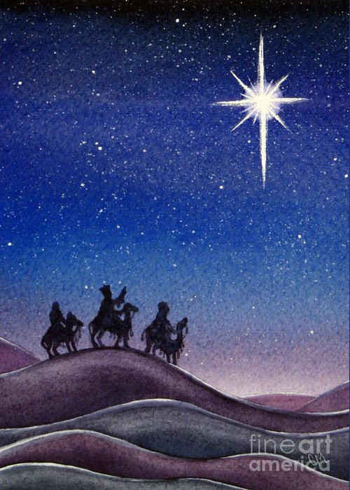 Christmas Greeting Card featuring the painting Wise Men by Christina Meeusen