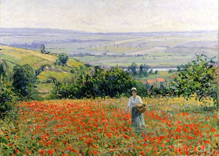 Woman In A Poppy Field (oil On Canvas) By Leon Giran-max (c.1870-1927) Greeting Card featuring the painting Woman In A Poppy Field by Leon Giran Max