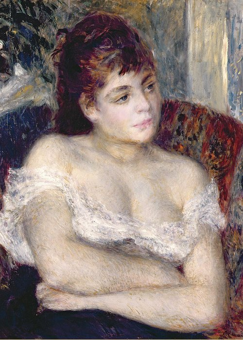 Woman Greeting Card featuring the painting Woman In An Armchair by Pierre Auguste Renoir