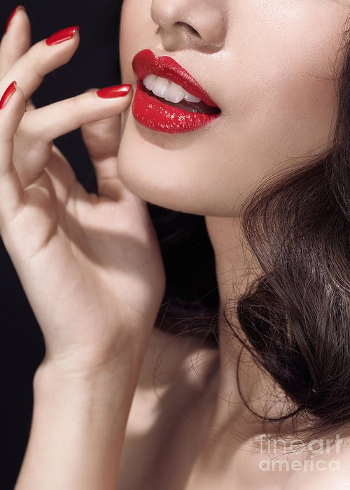 Lips Greeting Card featuring the photograph Woman With Red Lipstick Closeup Of Sensual Mouth by Oleksiy Maksymenko
