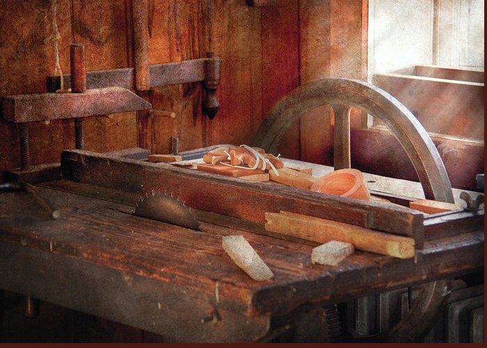 Savad Greeting Card featuring the photograph Woodworker - The Table Saw by Mike Savad