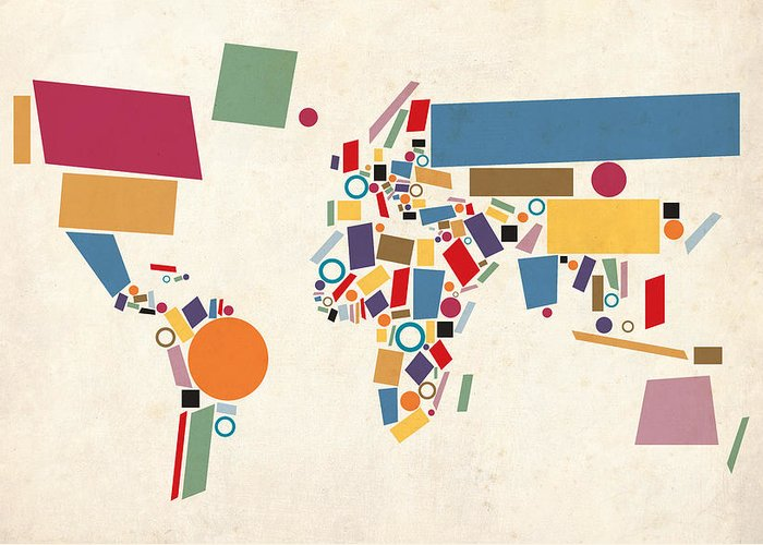 World Map Greeting Card featuring the digital art World Map Abstract by Michael Tompsett