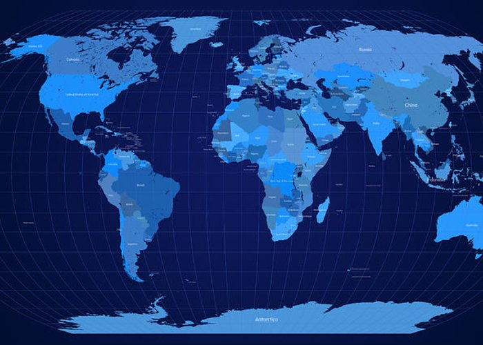 Map Greeting Card featuring the digital art World Map In Blue by Michael Tompsett