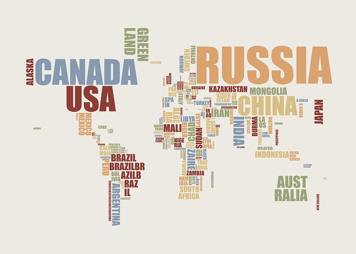 World Map Greeting Card featuring the digital art World Map In Words 2 by Michael Tompsett