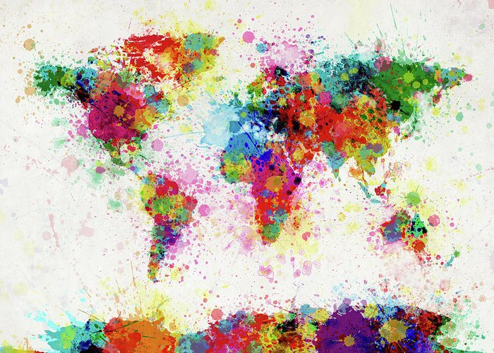 World Map Paint Splashes Greeting Card featuring the digital art World Map Paint Drop by Michael Tompsett