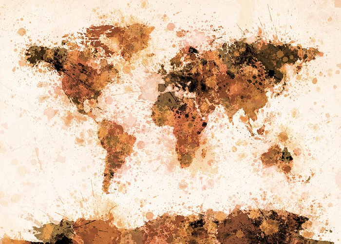 Map Of The World Greeting Card featuring the digital art World Map Paint Splashes Bronze by Michael Tompsett