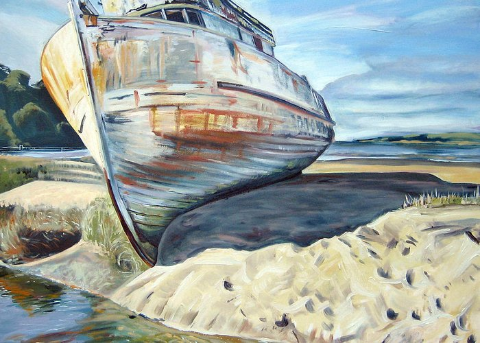 Boat Greeting Card featuring the painting Wreck Of The Old Pt. Reyes by Colleen Proppe