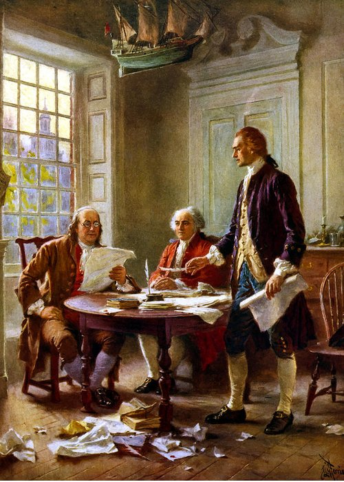 Declaration Of Independence Greeting Card featuring the painting Writing The Declaration Of Independence by War Is Hell Store