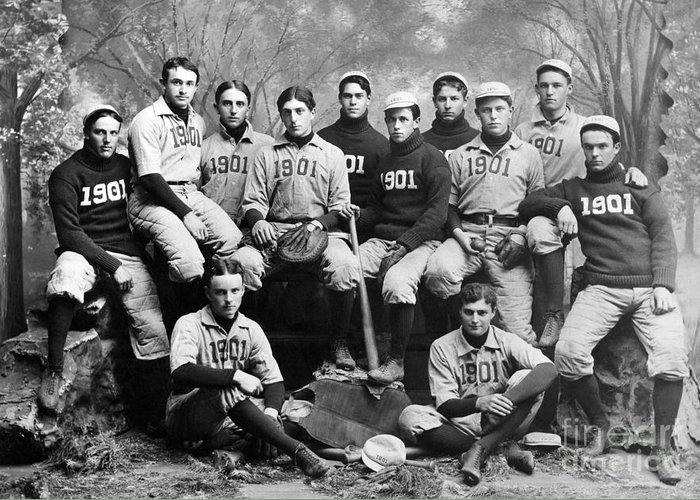 1901 Greeting Card featuring the photograph Yale Baseball Team, 1901 by Granger