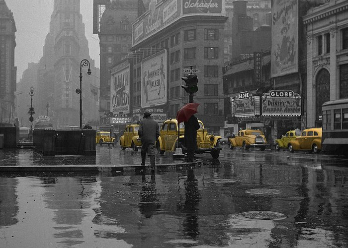 Times Square Greeting Card featuring the photograph Yellow Cabs New York by Andrew Fare