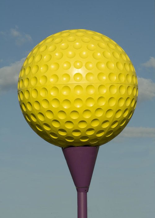Yellow Greeting Card featuring the glass art Yellow Golf Ball by Carl Purcell