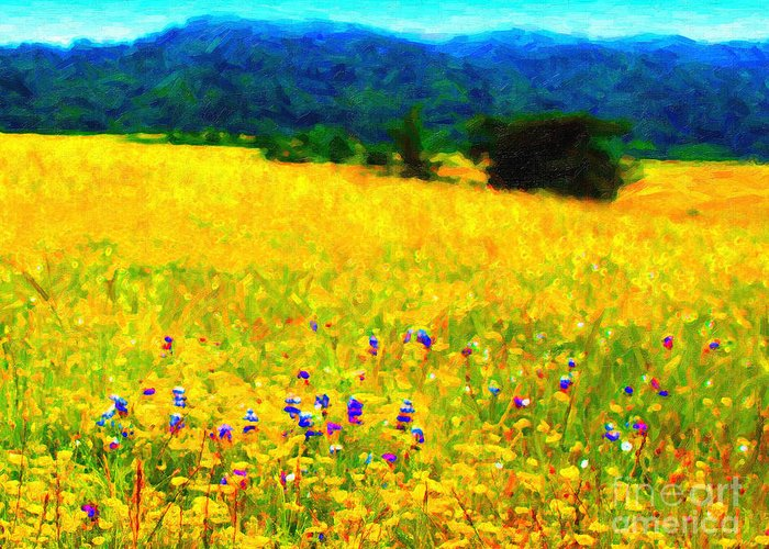 Landscape Greeting Card featuring the photograph Yellow Hills by Wingsdomain Art and Photography