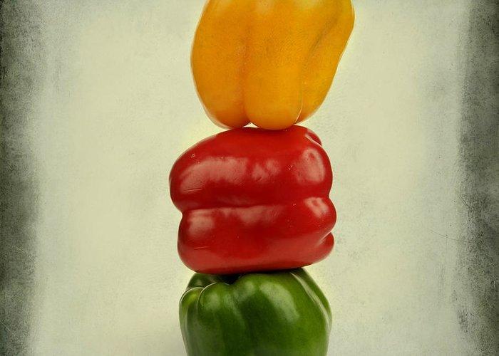 Texture Greeting Card featuring the photograph Yellow Red And Green Bell Pepper by Bernard Jaubert