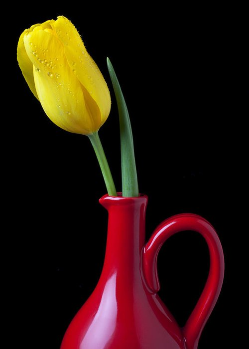 Yellow Greeting Card featuring the photograph Yellow Tulip In Red Pitcher by Garry Gay