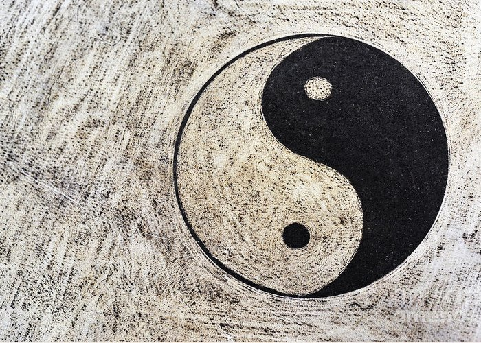 Spirituality Greeting Card featuring the photograph Yin And Yang Symbol On Drum by Sami Sarkis