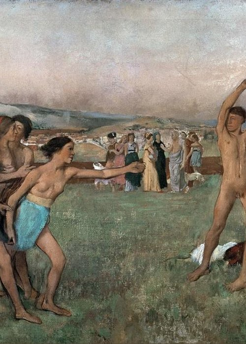 Young Spartans Exercising Greeting Card featuring the painting Young Spartans Exercising by Edgar Degas