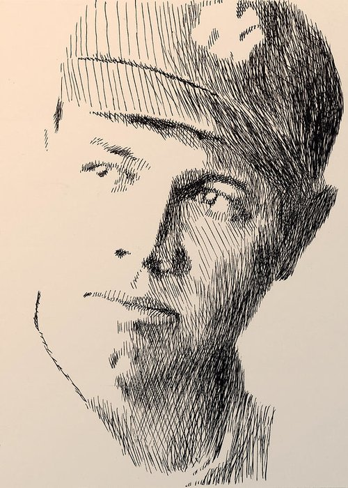 Pen Greeting Card featuring the drawing Young Sultan Of Swat by Robbi Musser