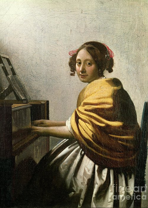 Young Woman At A Virginal (oil On Canvas) By Jan Vermeer (1632-75) Greeting Card featuring the painting Young Woman At A Virginal by Jan Vermeer