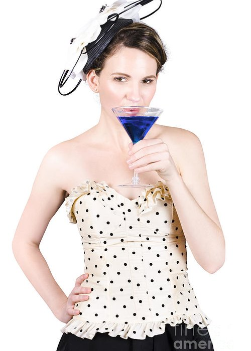 Woman Greeting Card featuring the photograph Young Woman Drinking Alcoholic Beverage by Jorgo Photography - Wall Art Gallery