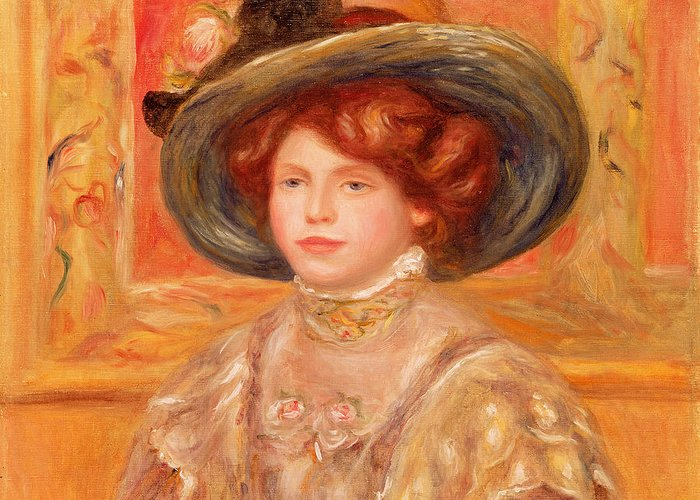 Young Greeting Card featuring the painting Young Woman In A Blue Hat by Pierre Auguste Renoir